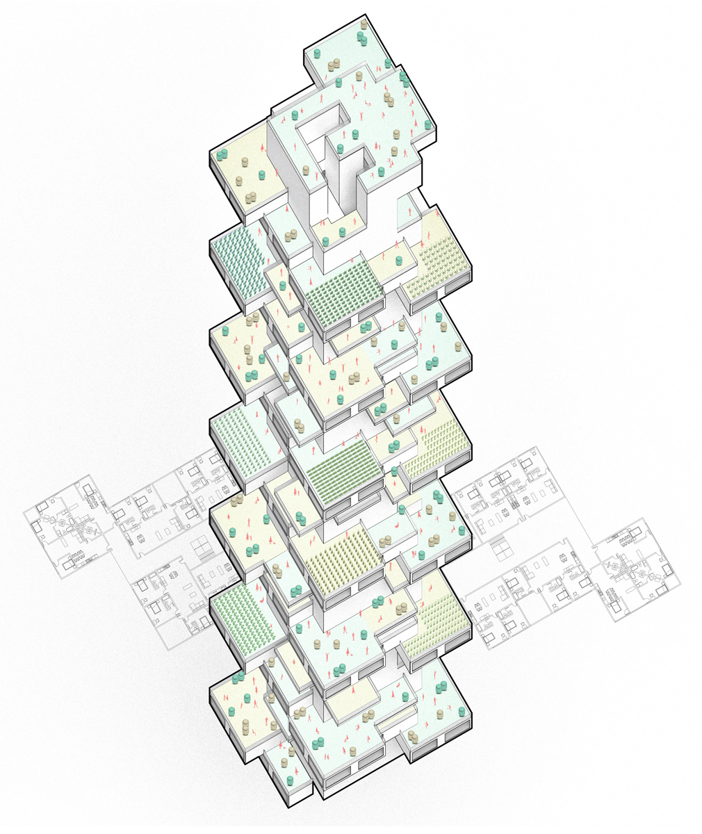 Axonometric diagram illustrating the variety and organization of a tower with shared farming terraces by student Zihao Li