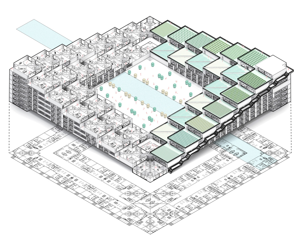 Detailed building diagram showing a terraced housing typology that combines farming and housing by student Zihao Li