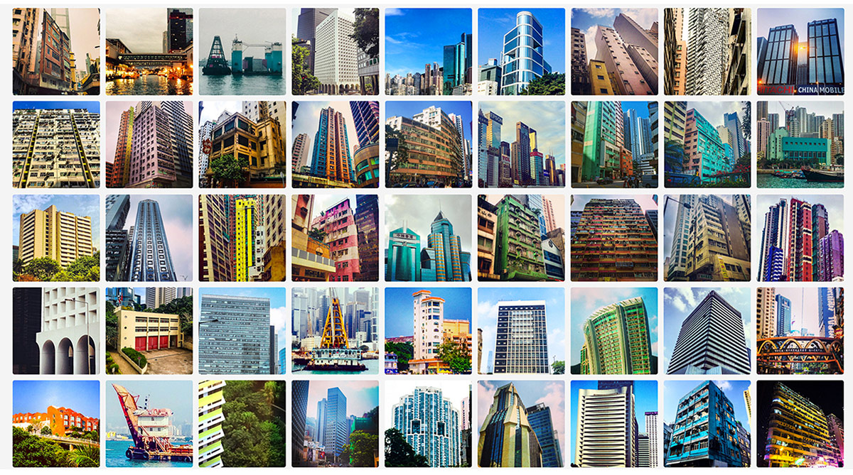 Collection grid of daily images documenting common urban structures in Hong Kong