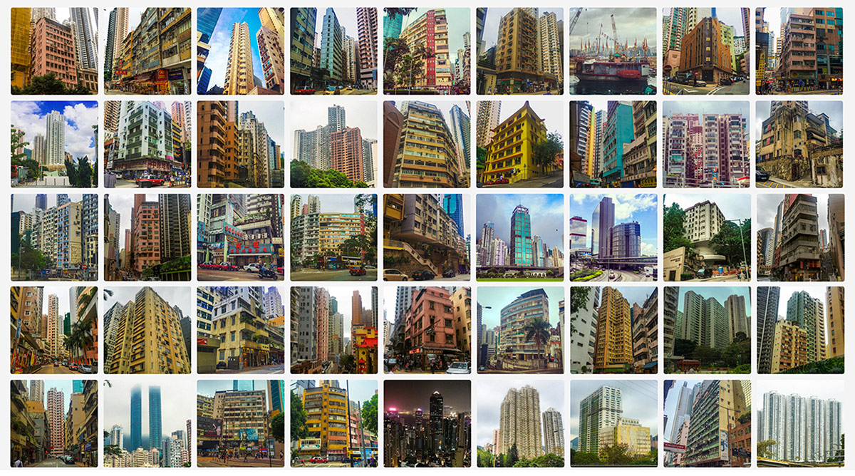 Grid of daily photos taken in Hong Kong documenting typical forms of urban buildings