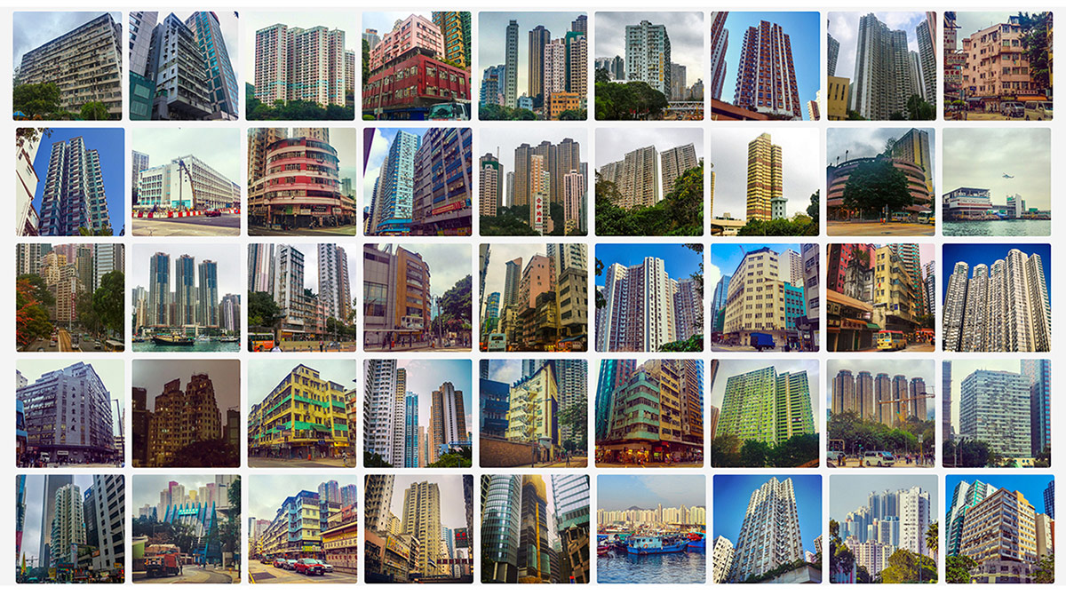Photo grid collection of everyday forms of urbanism in Hong Kong documented in 2014