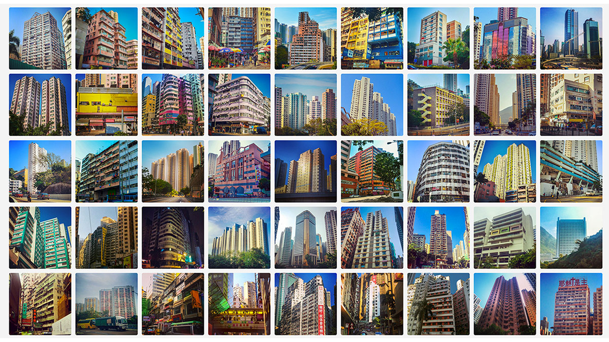 Gridded images capturing an image every day from Hong Kong in an effort to document the city