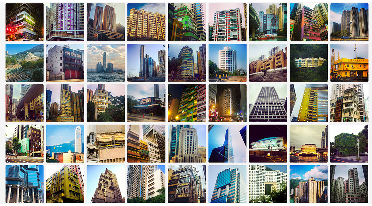 Grid of daily photo uploads from an effort to capture commonplace urban relationships in Hong Kong