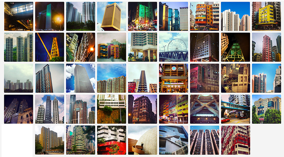 Grid of everyday urban buildings discovered daily in Hong Kong in 2014