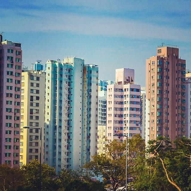 Grouping of pastel colored towers at the edge of a park in Hong Kong