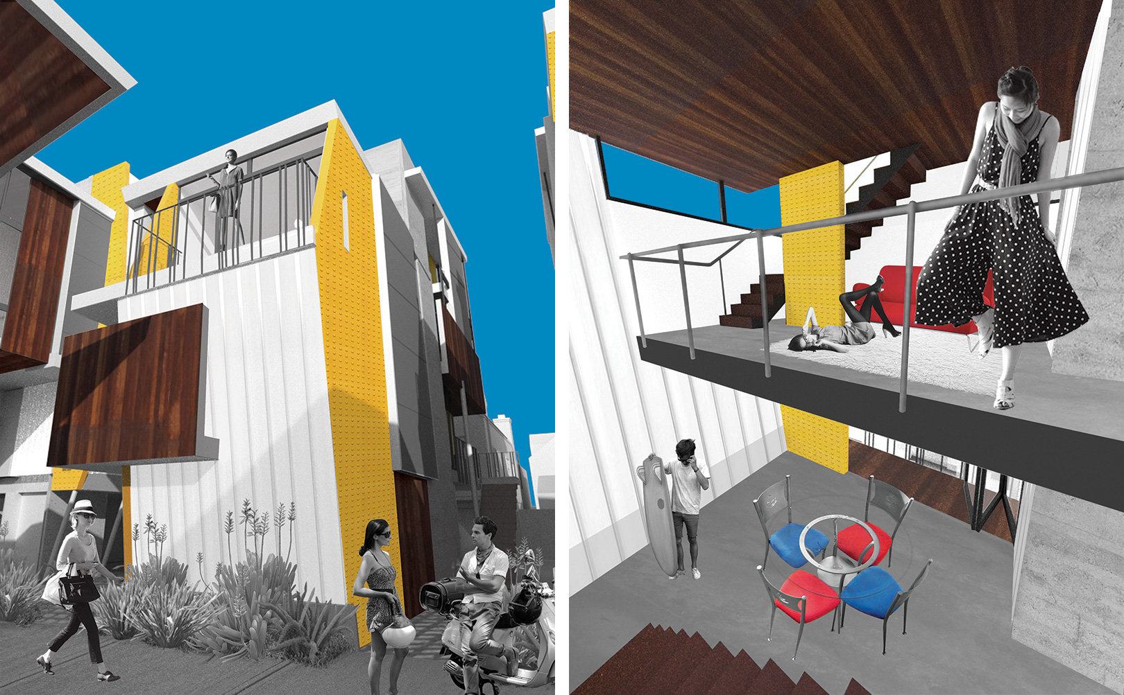 Exterior and interior perspectives of the two-story Goose duplex at the center of the QTCT housing proposal