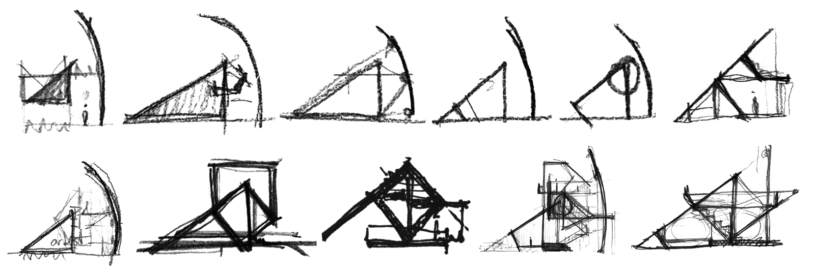 Series of study sketches of a RACA gallery that slopes toward the desert landscape and shields from the adjacent suburbs