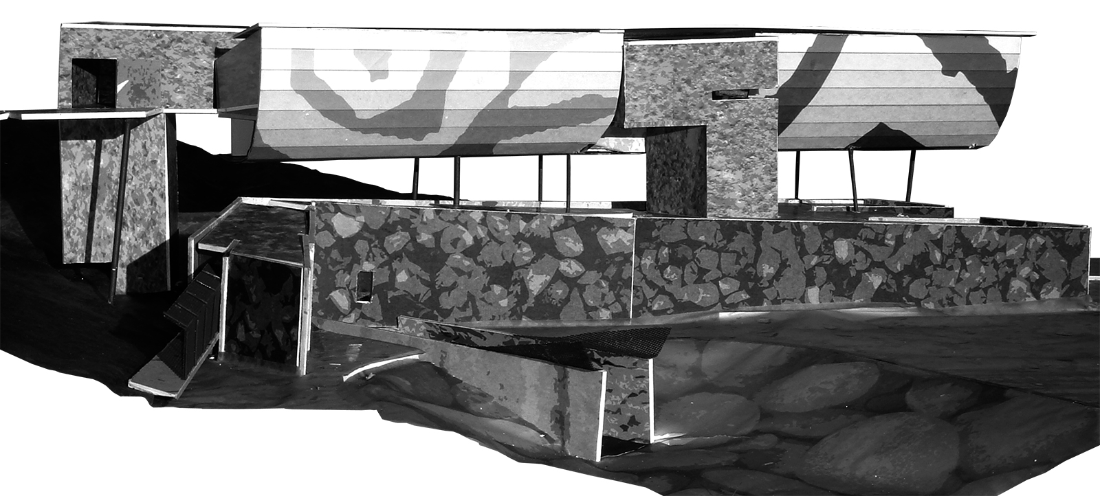 Study model of a floating RACA gallery mass floating above the existing visitor center with a skin made of shifting symbols
