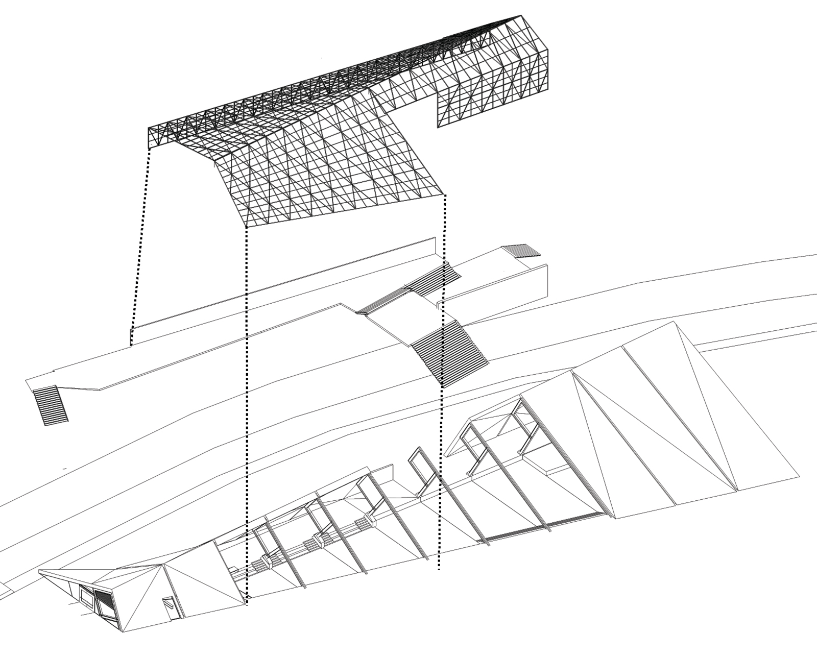 Exploded diagram of the RACA gallery showing the lower gallery spaces, the viewing deck, and the upper cladding system