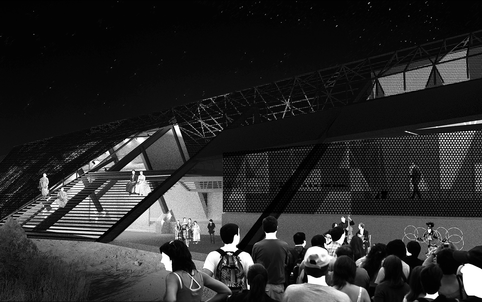 Exterior perspective of the RACA gallery opening up to the desert landscape for a nighttime performance