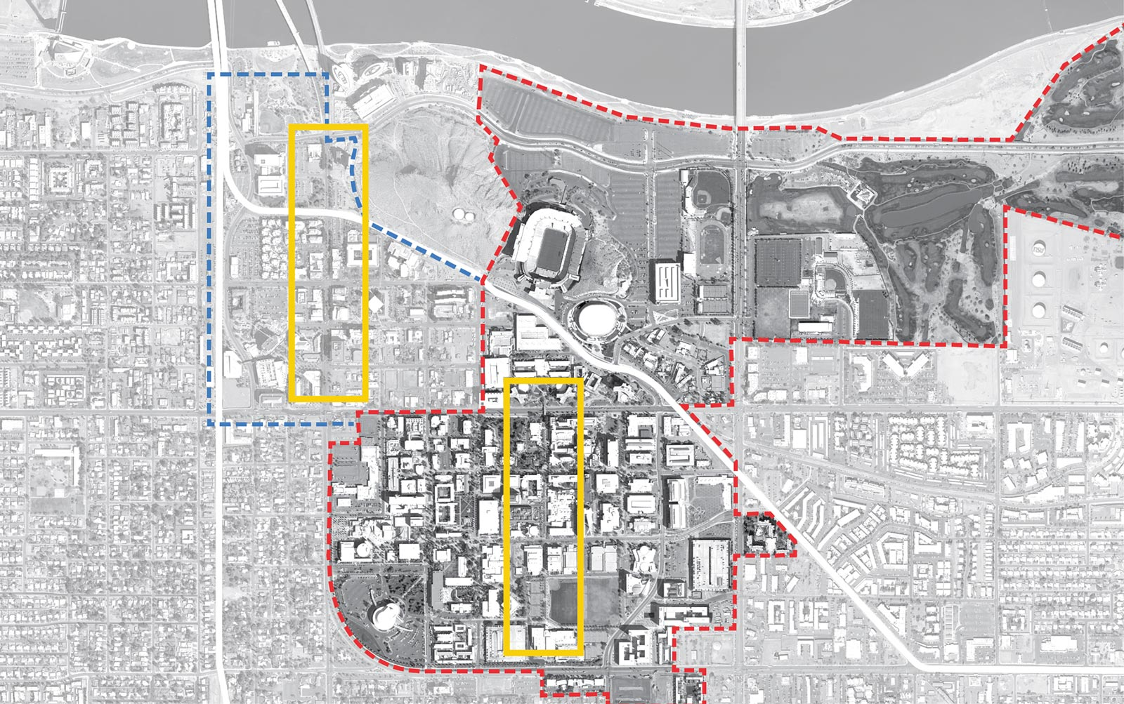 Aerial map highlighting the two primary pedestrian paths at Mill Avenue and Palm Walk for integrating PEP shade canopy