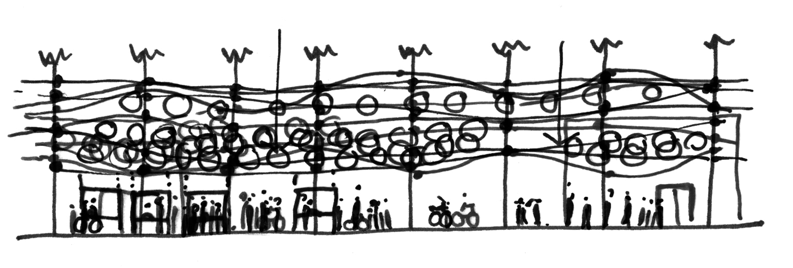 Long concept section sketch showing the flexible relationship between the PEP shade canopy with the palm trees and students