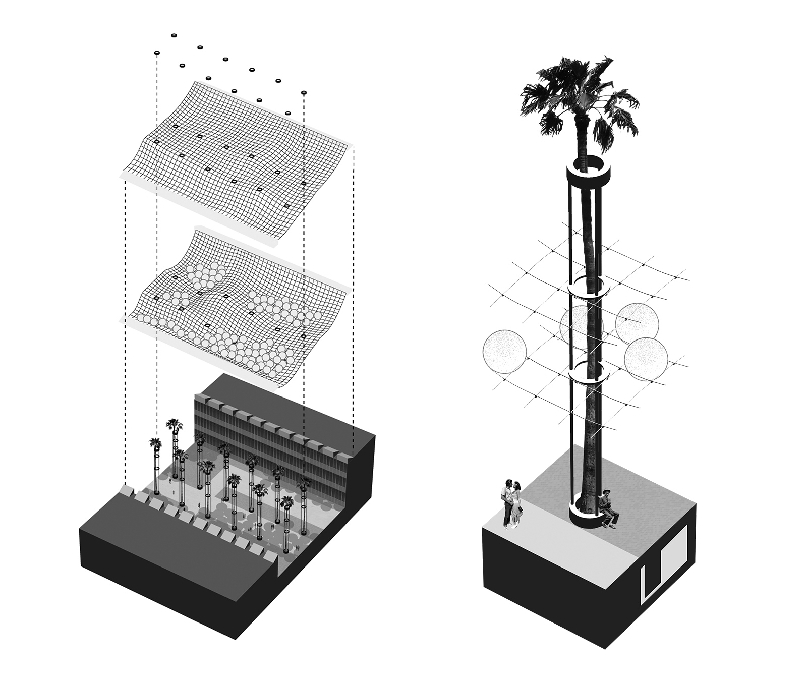 Pair of exploded diagrams of the various layers comprising the PEP shade canopy system: the meshes, hydraulics and balls