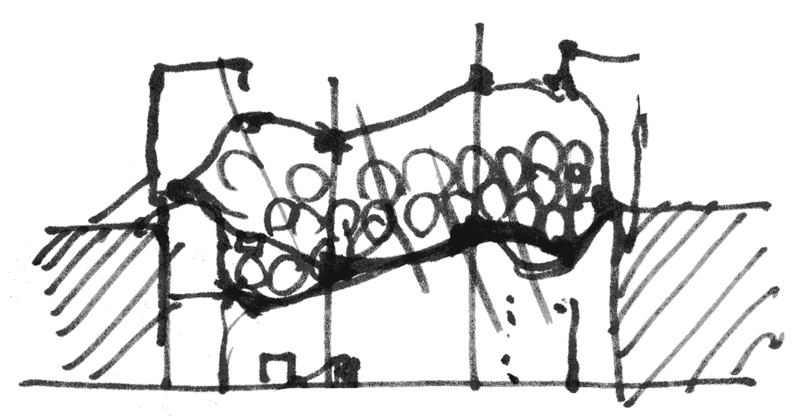 Study sketch illustrating the morphing nature of the PEP shade canopy system with hydraulics that shift the shape