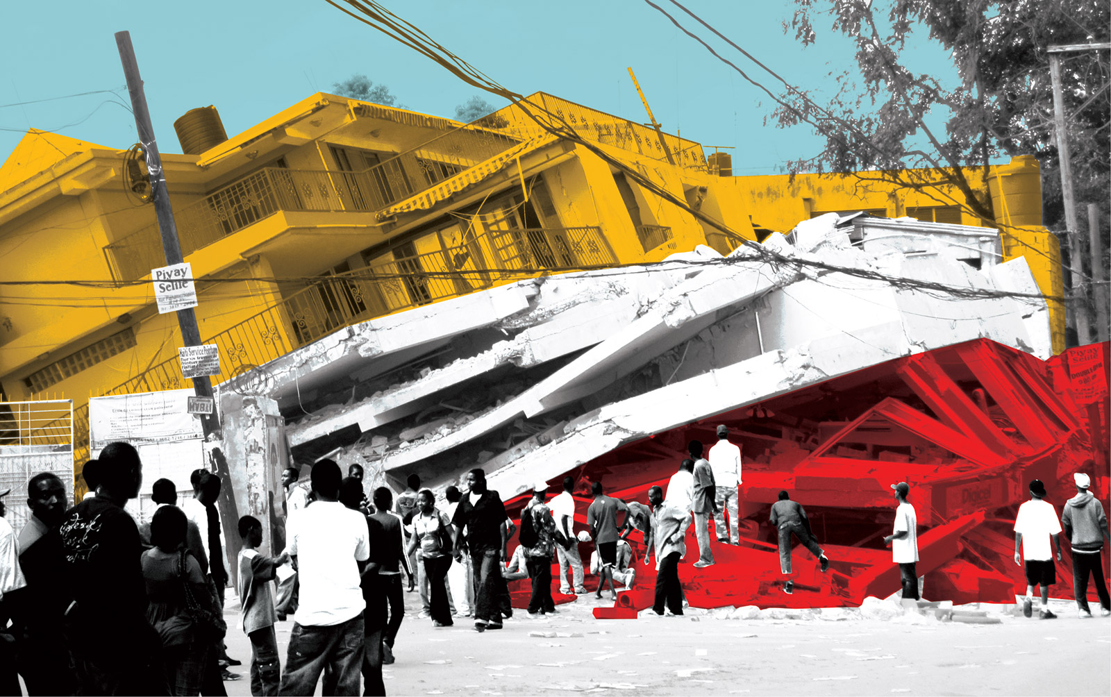 Collaged photograph of the 2010 Haiti earthquake highlighting the various layers of failed building construction