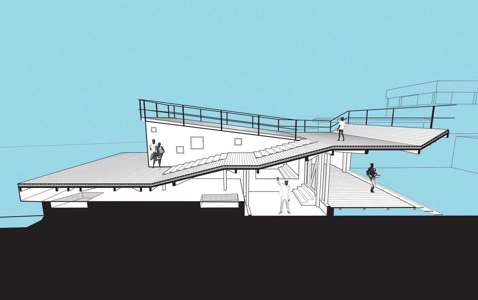 Section perspective showing the exterior public space above the private recording studios and radio center deck