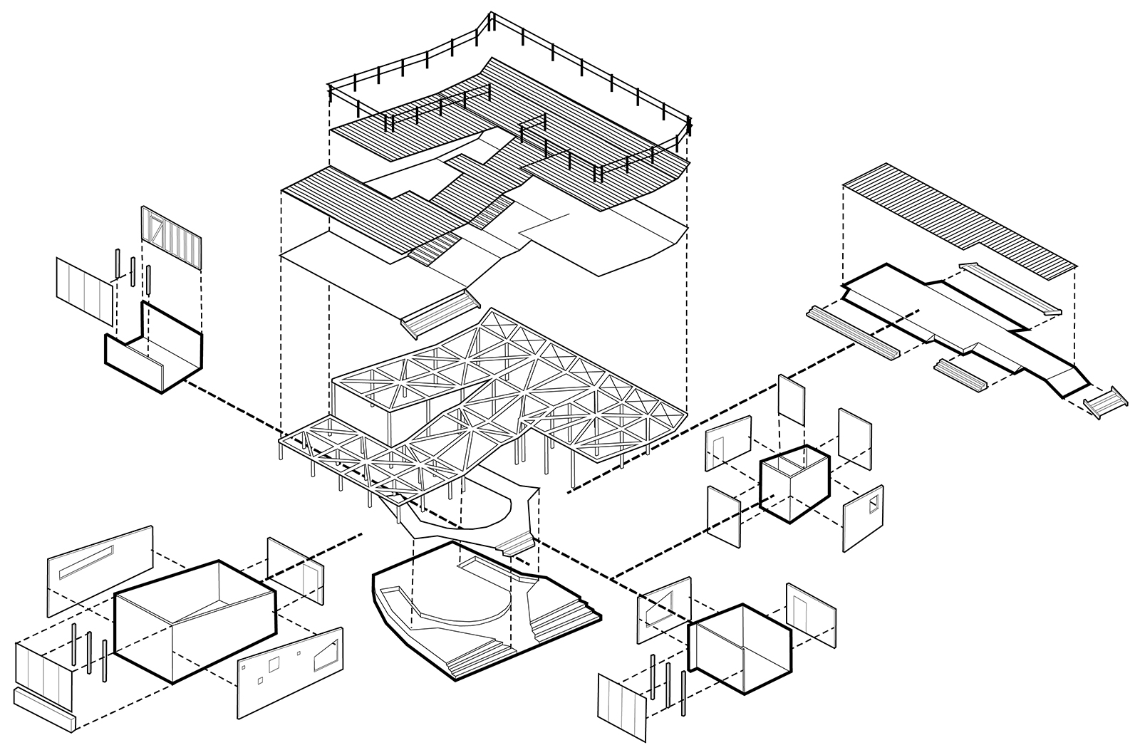 Drawing showing the various modular components for each of the phases of construction of the YELE studios