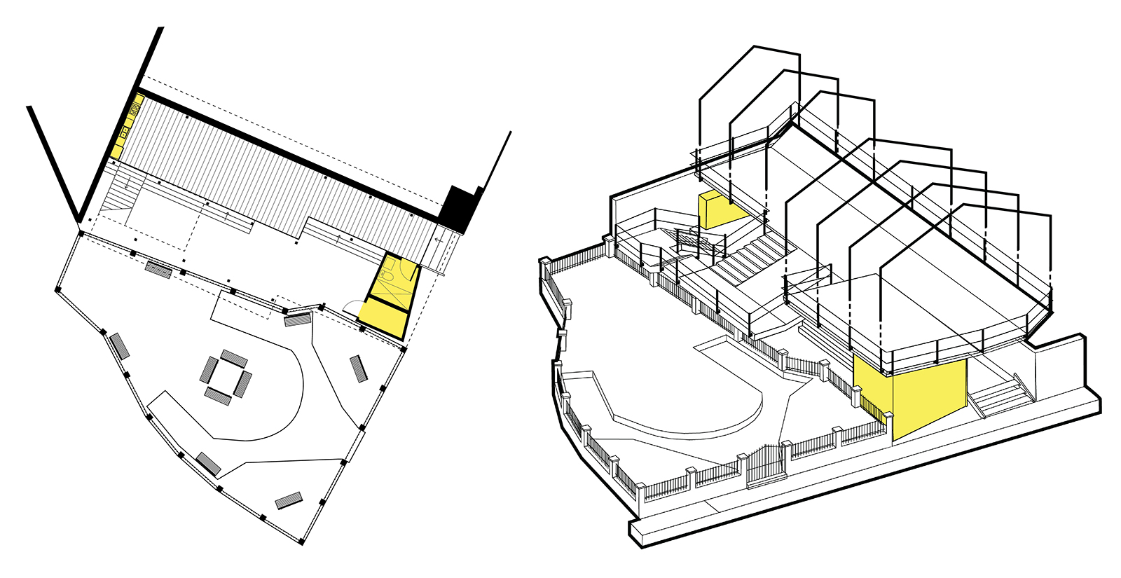Plan and massing drawings showing the extent of the Phase 1 YELE build-out for bare minimal bathroom resources and space