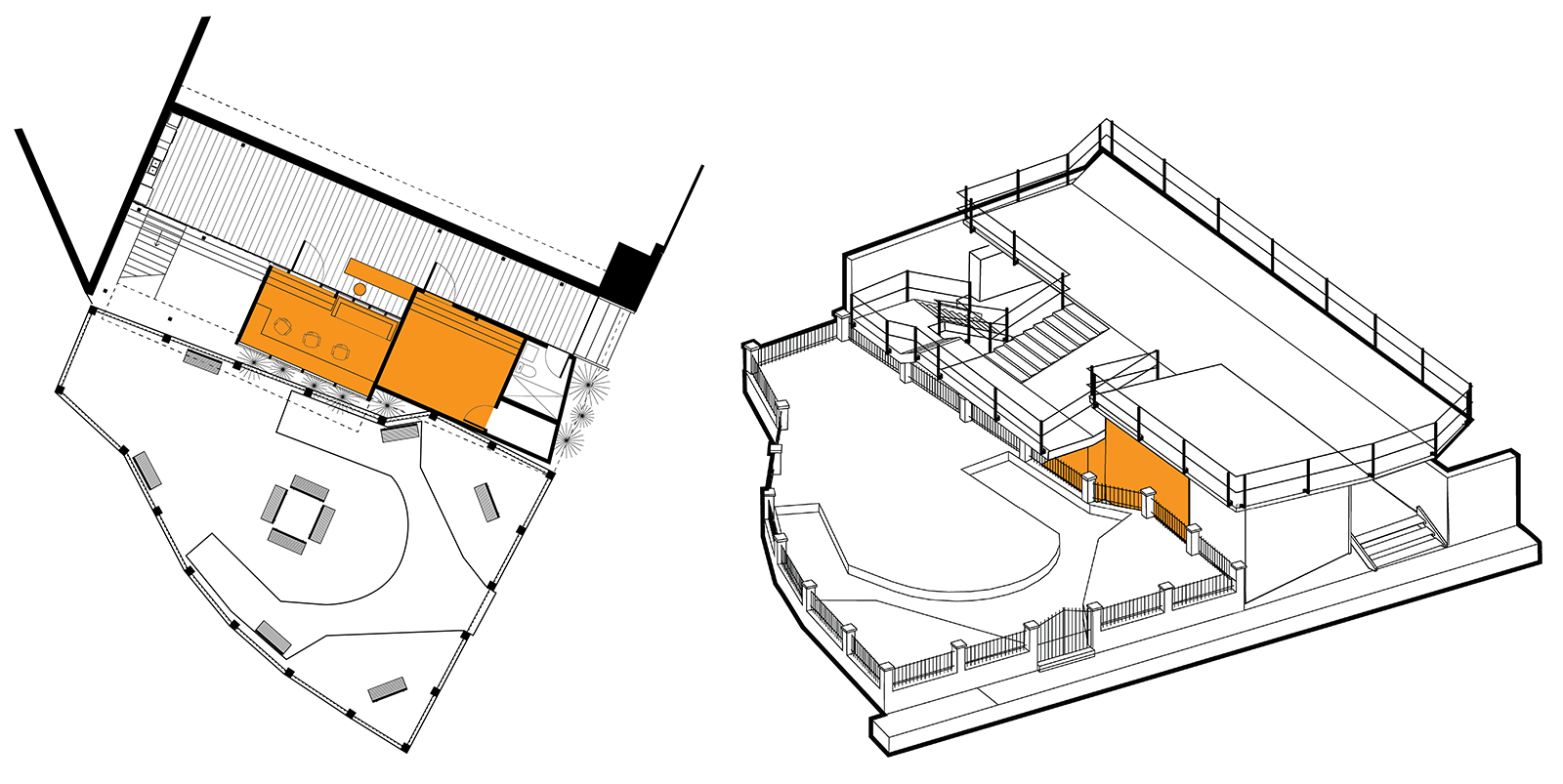 Plan and massing drawings of Phase 2 of YELE including the first studio, recording booth, and reception area