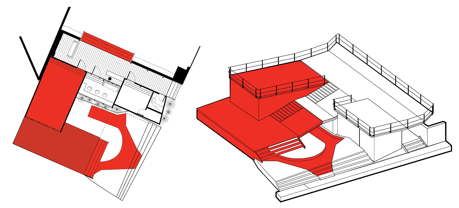 Plan and massing diagrams showing the expansion of the YELE studio public space deck during the final phase of construction