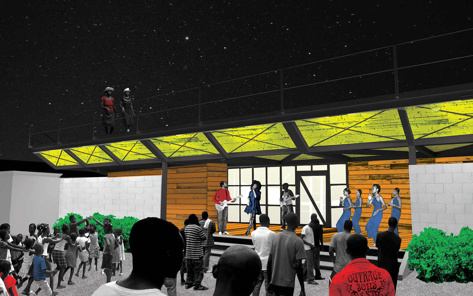 Perspective of the informal performance stage positioned between the open space of the radio station and YELE studio