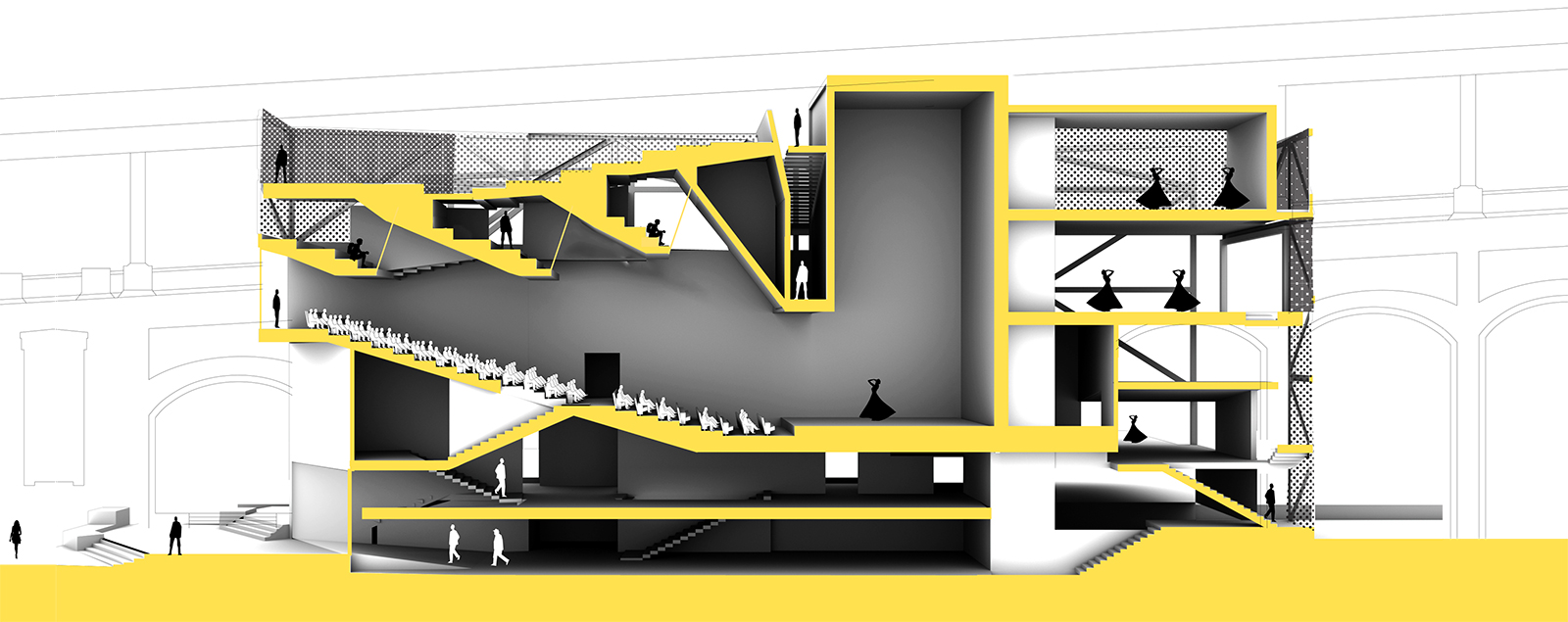 Long section perspective of the main DM performance hall with studio spaces, lower facilities and upper stage