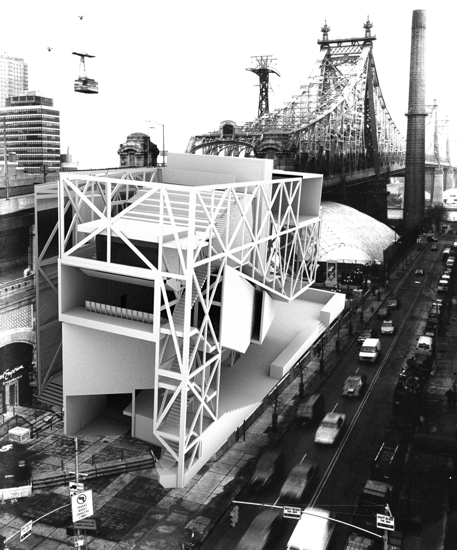 Perspective of the DM performance massing attached to the Queensboro bridge viewed from above the street intersection