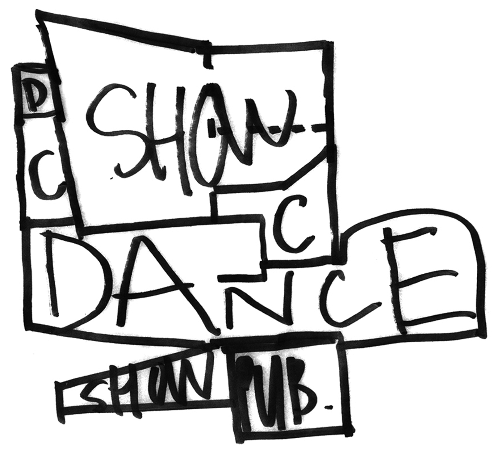 Initial concept sketch for distributing the various studio and theatre programs of the DM performance center