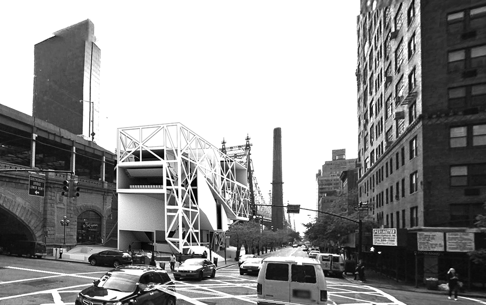 Perspective of the DM dance center from the street intersection showing the construction merging with the Queensboro Bridge