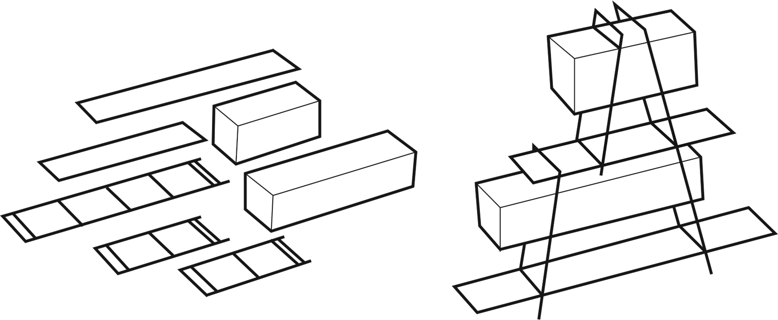 CTST Construction diagram based on shelving systems stabilized by combining frames with solid volumes