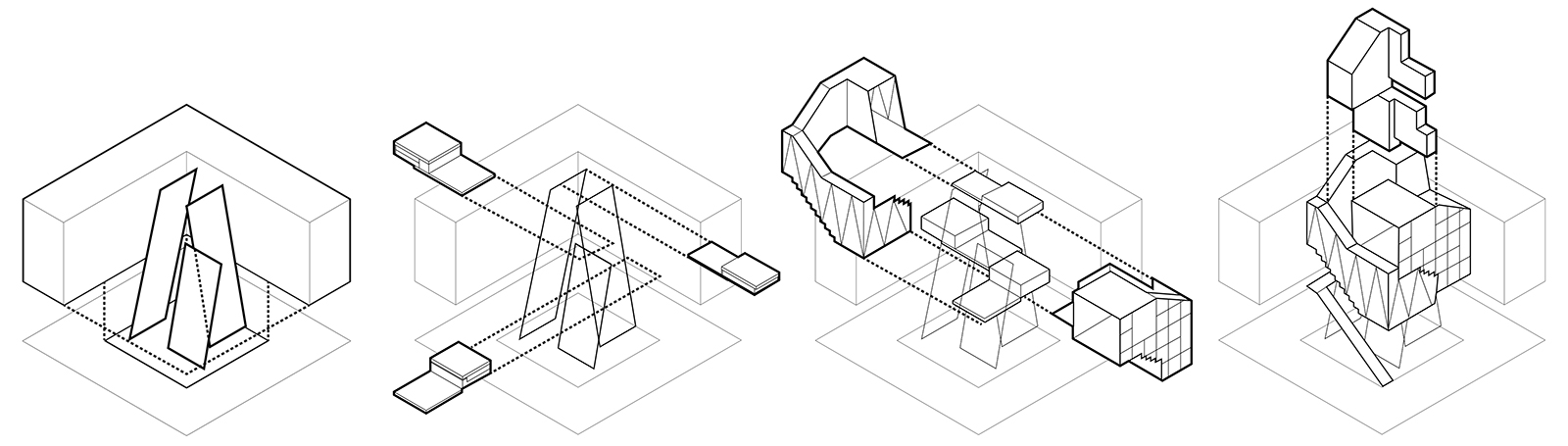 Sequence showing the modular components for the CTST construction with frames, bed modules, storage and services