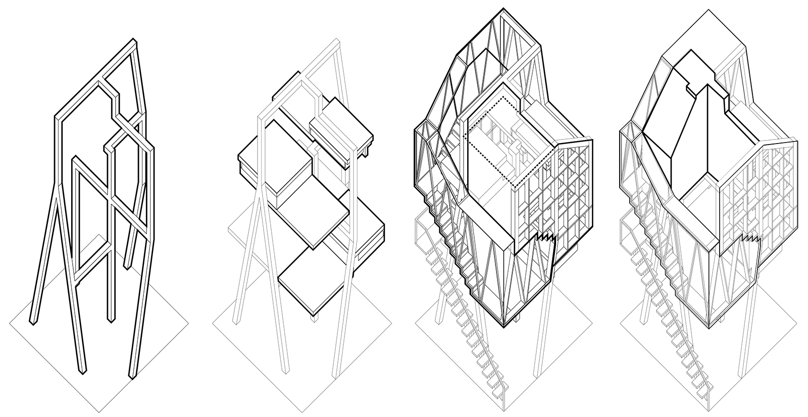Series of axonometric drawings of the various components of the CTST infill unit constructions