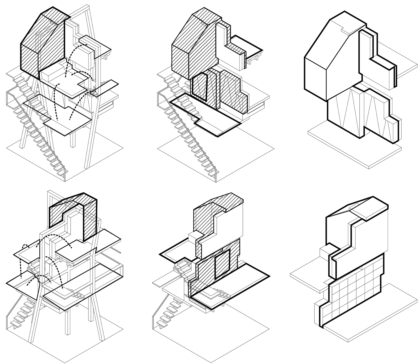 Series of function diagrams of the CTST housing units showing the rooms, shelving, and circulation