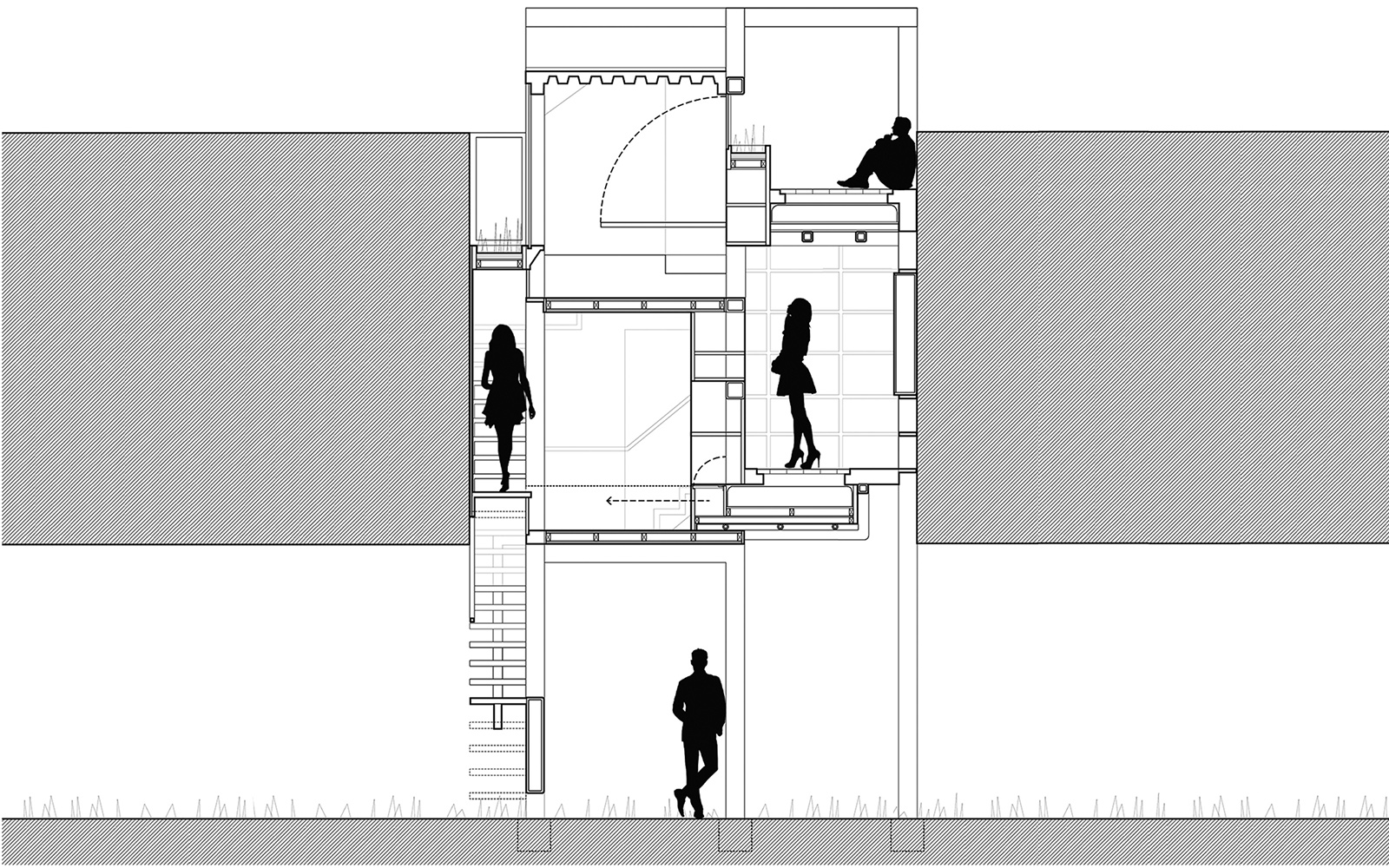 Section showing the compressed nature of the CTST infill housing units within a void as entered from below