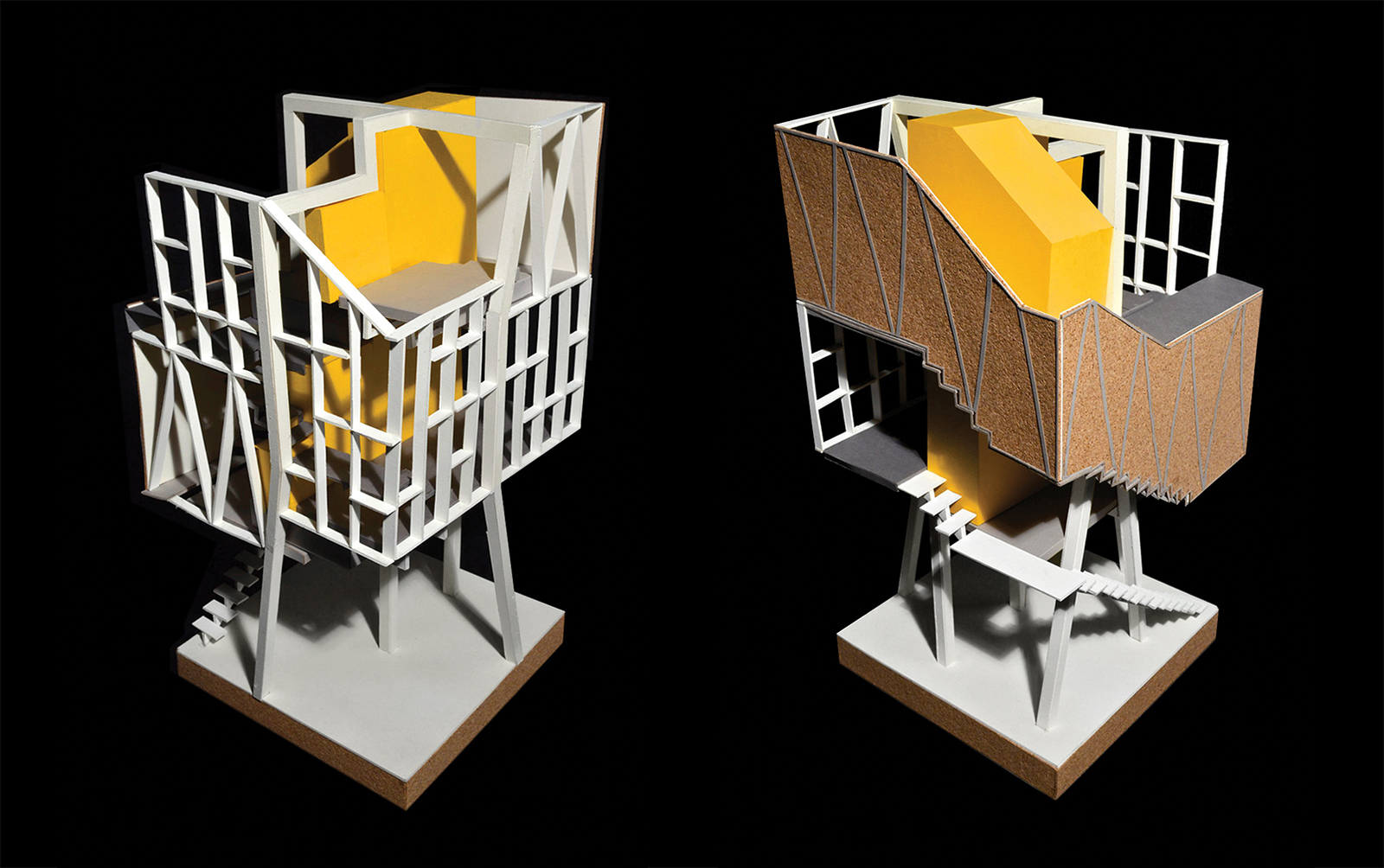 Models of the CTST infill housing prototype showing the structural grid skin that doubles as storage and enclosure