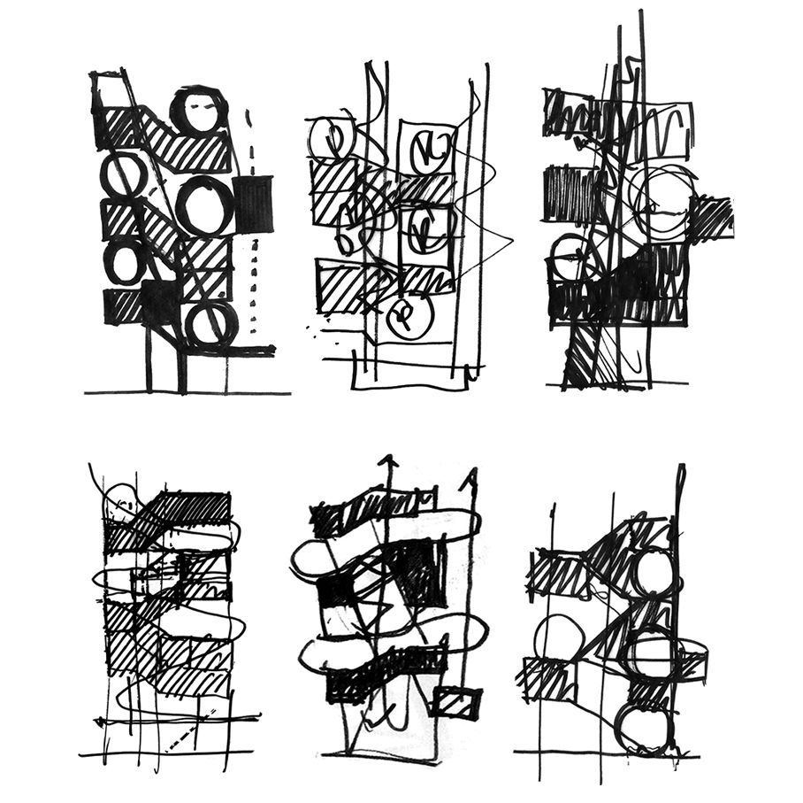 Series of sectional sketches looking at the distribution of private and shared spaces in the CART infill tower