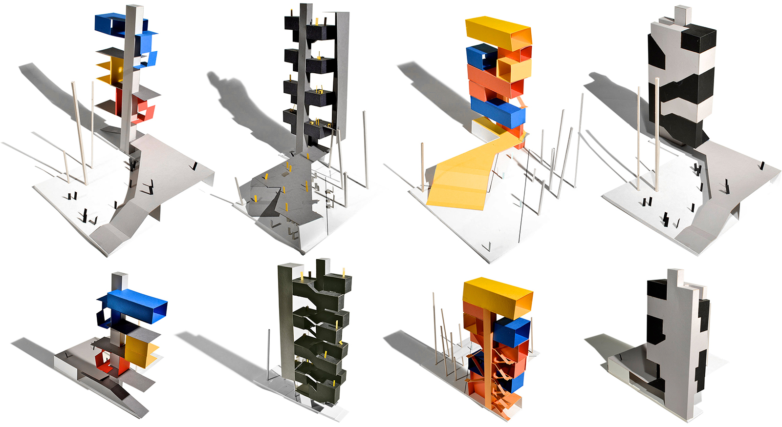 Collection of study models for CART looking at variations of shared and private space throughout the tower