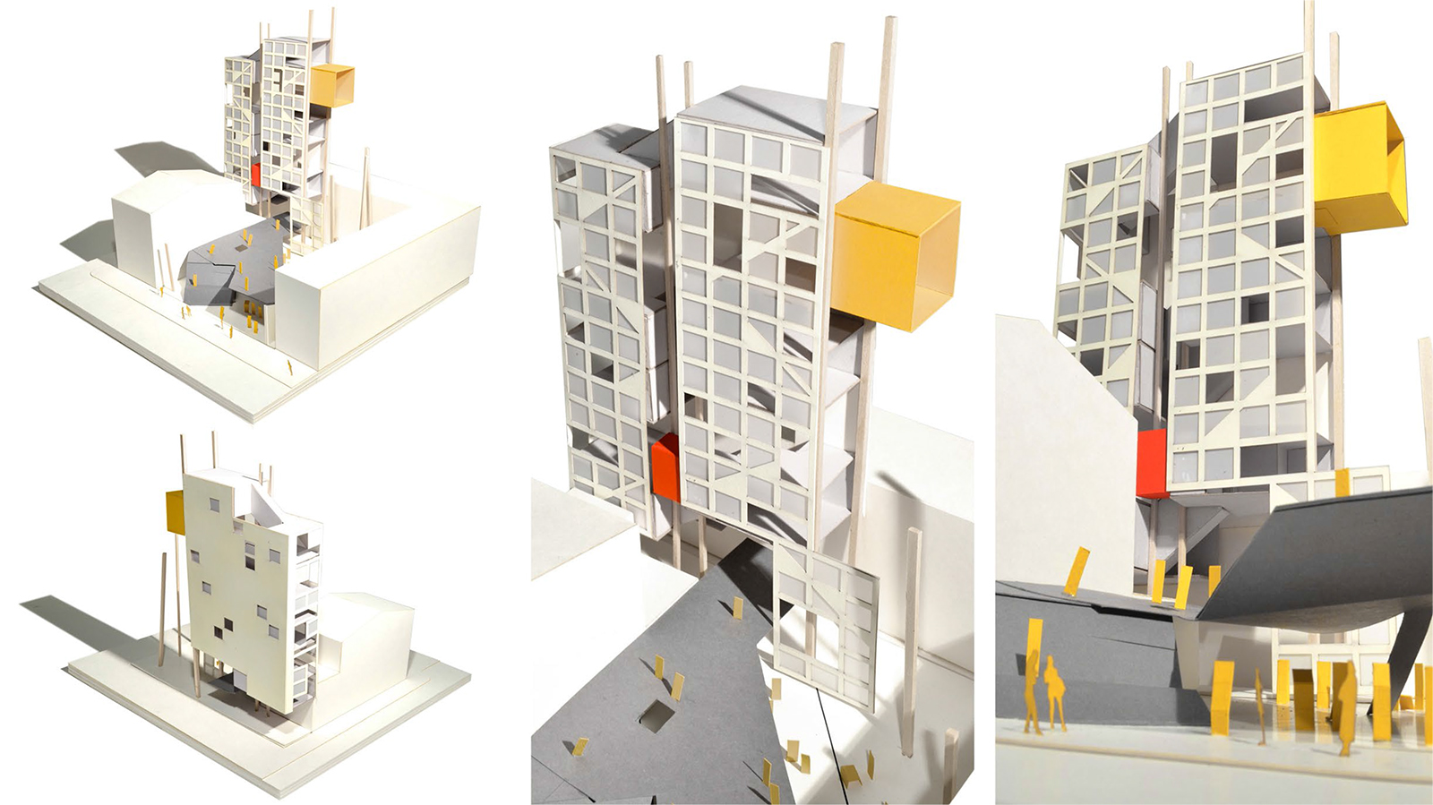 Study model of the CART tower with two scales of elevators for moving food carts and people to the communal spaces