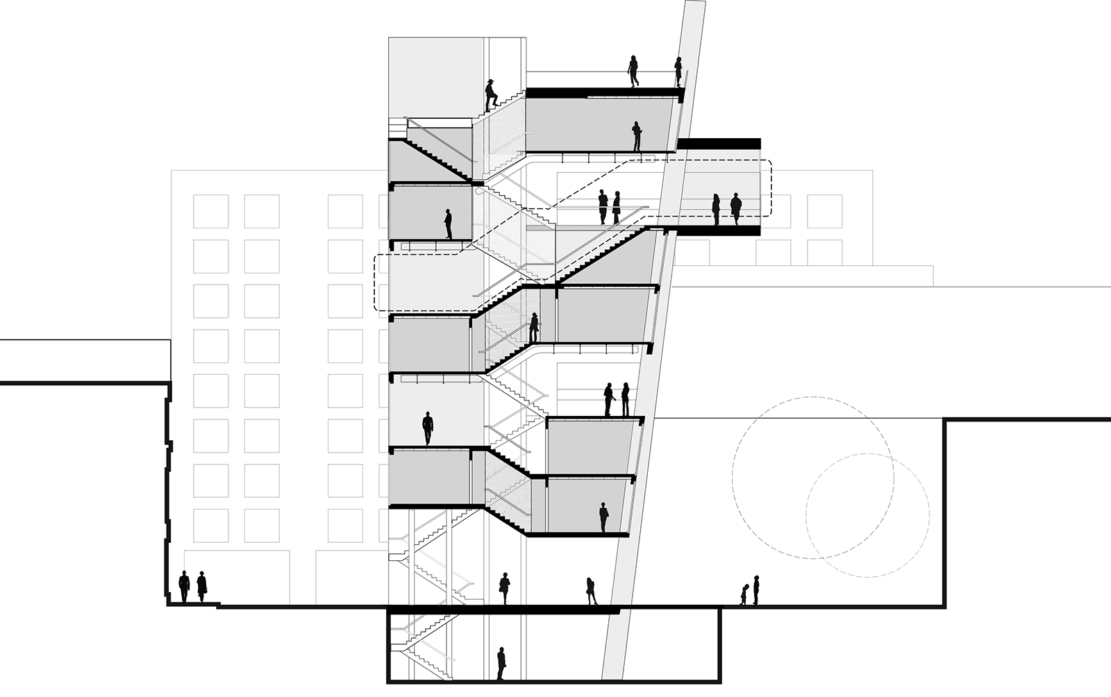 Section drawing of the CART project showing the housing lifted above the public alleyway and the shared communal spaces