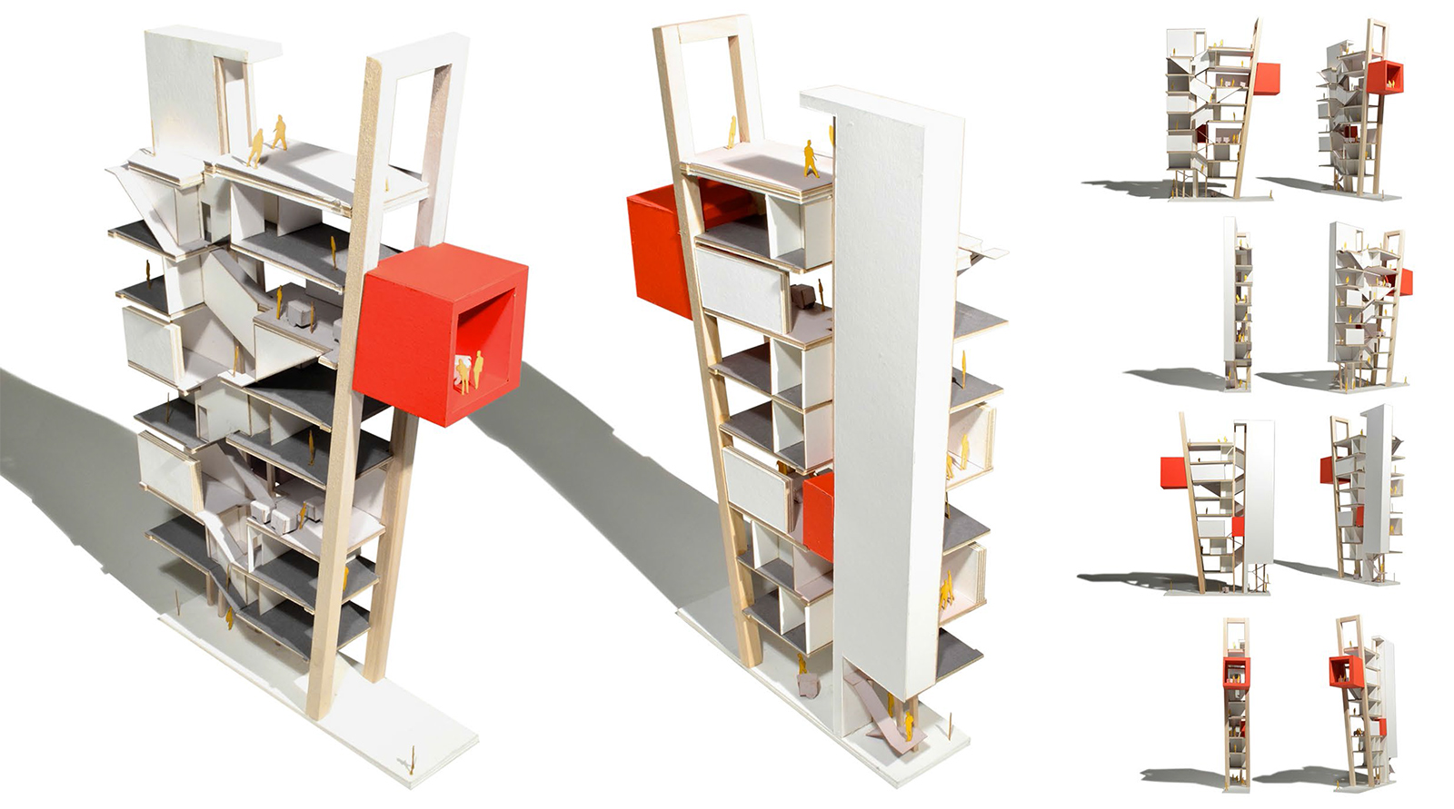 Model images of the CART proposal showing the front and back structures without facades to emphasize the internal functions