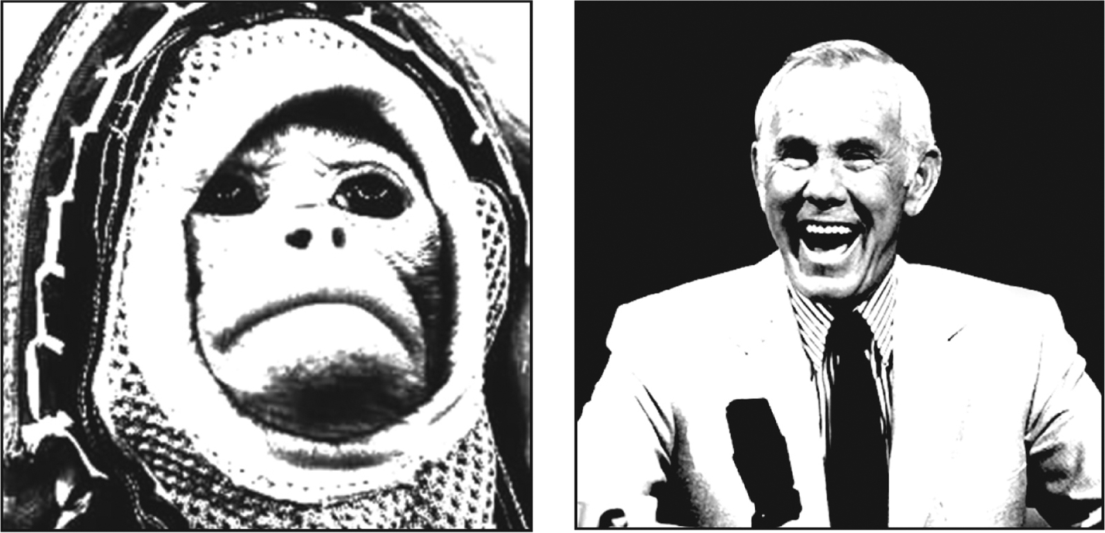 Concept pair of Albert the space monkey and Johnny Carson highlighting the public's perceptual of current topics
