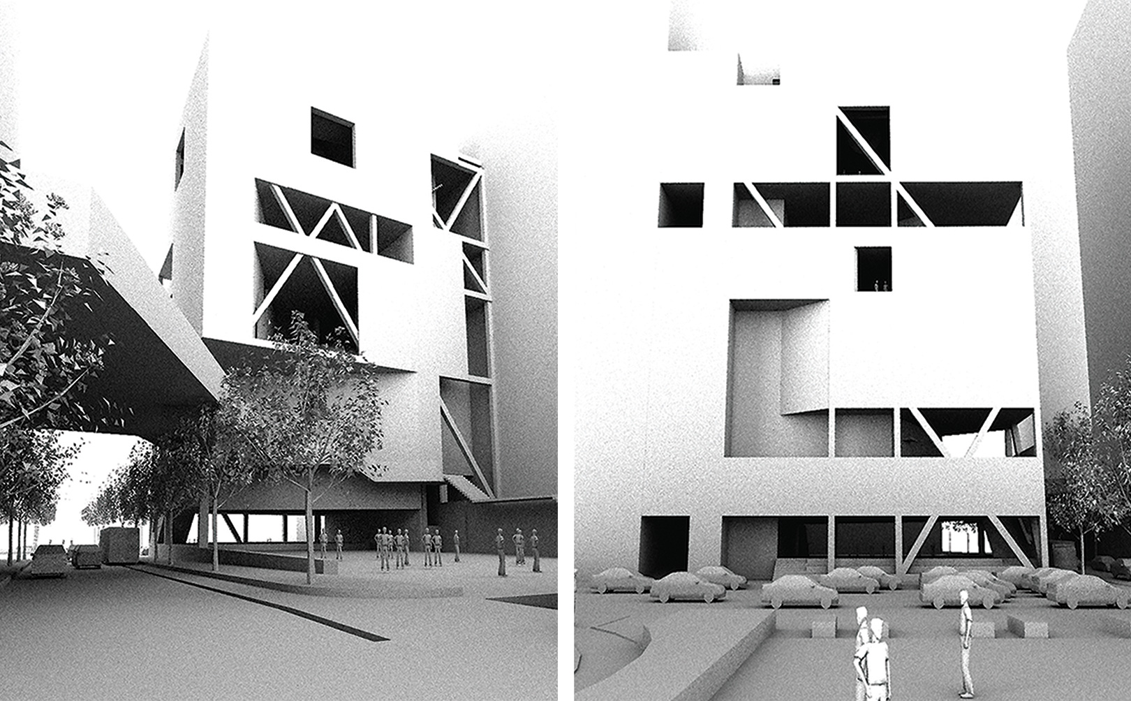 Study perspectives of the SPCS center from the two major public spaces on either side of the facility