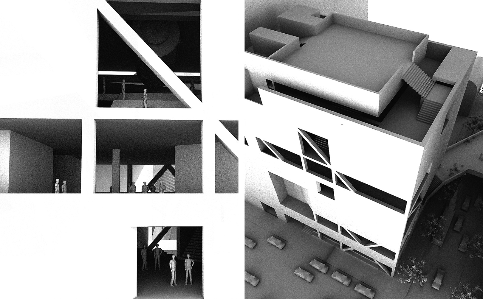 Pair of study aerial perspectives of SPCS looking into the main gallery space and above the layered roof decks