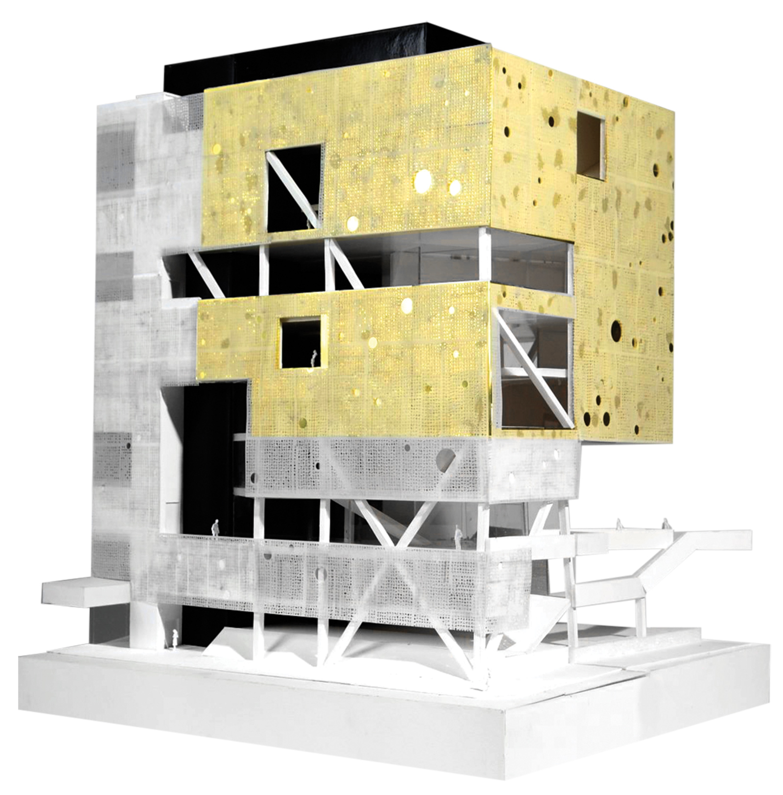 Model showing the layered facade and the floating golden cube of the upper SPCS public galleries