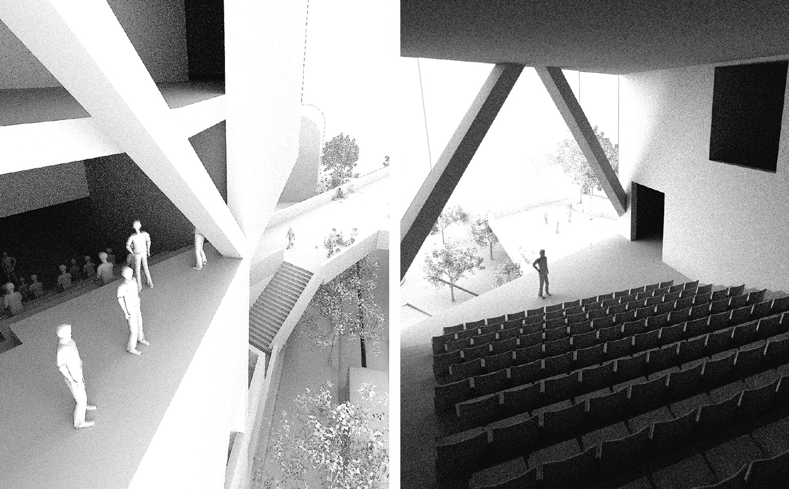 Multiple perspectives of the two public auditoria located through the vertical exhibition path of the SPCS HQ