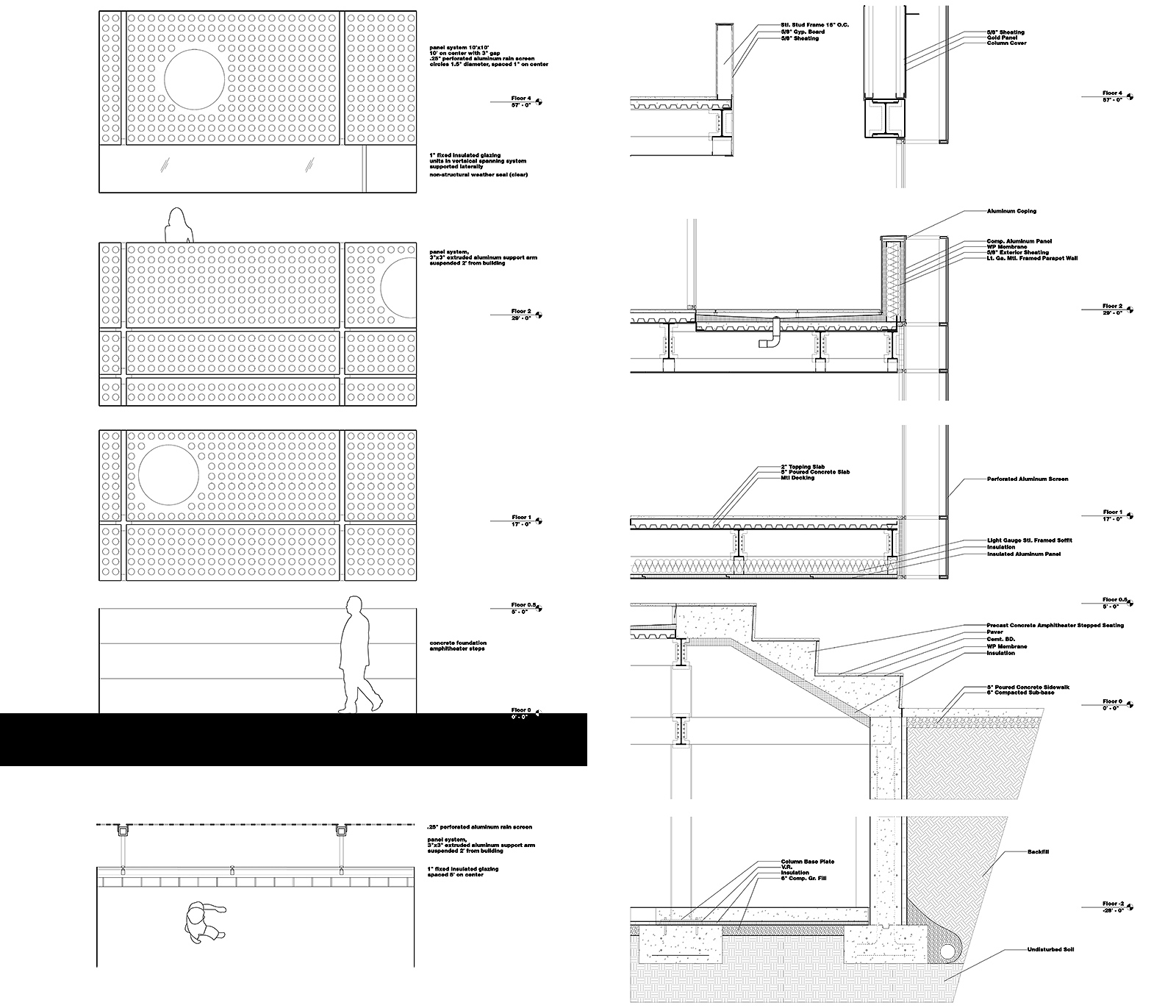 Elevation and section details showing how the layered facade will integrate with the main SPCS volumes