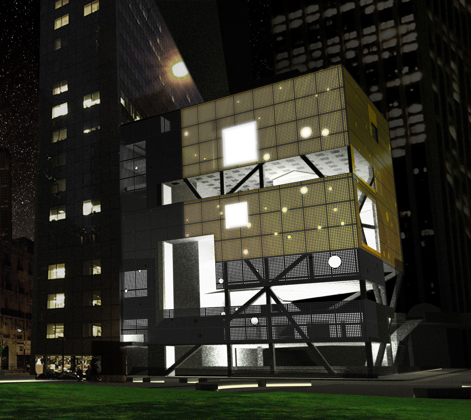 Perspective of the glowing SPCS center from park across the street at night