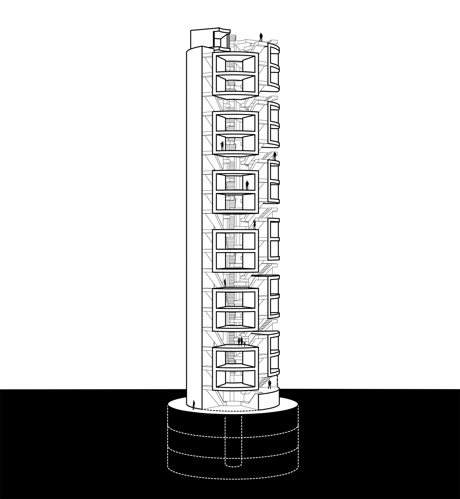 Elevation drawing of the skinny housing cylinder with units and shared spaces weaving throughout the FVDC tower