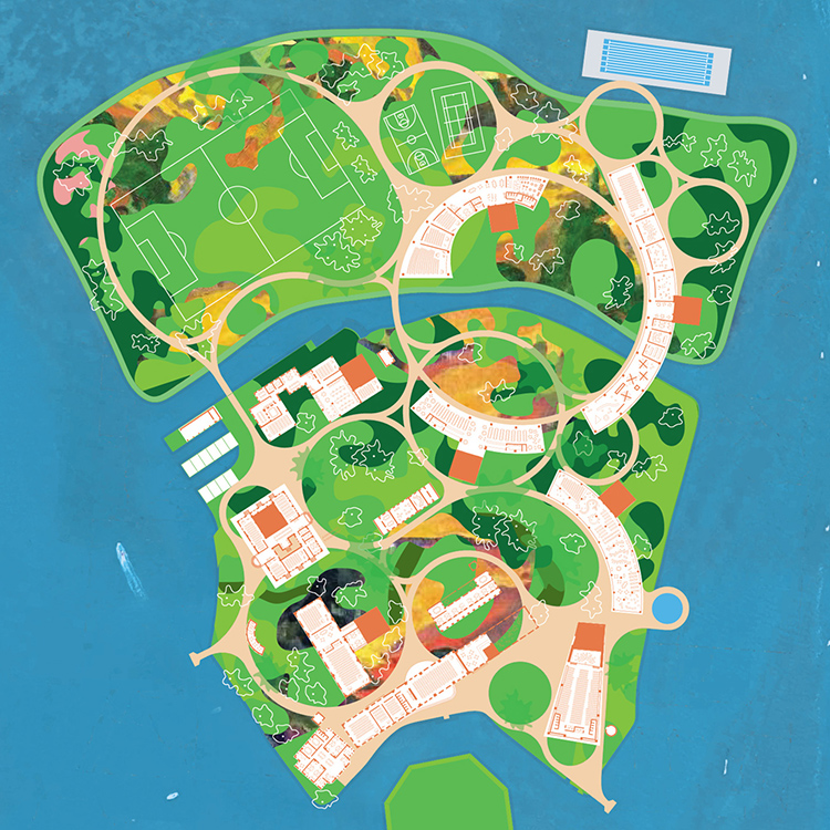 University Island is a swirling shapeshifter, in both the landscape and the architecture, that offers it's undefined field of opportunities to the students and anticipates that each will discover and produce their own individual relationship with the island and their education.
