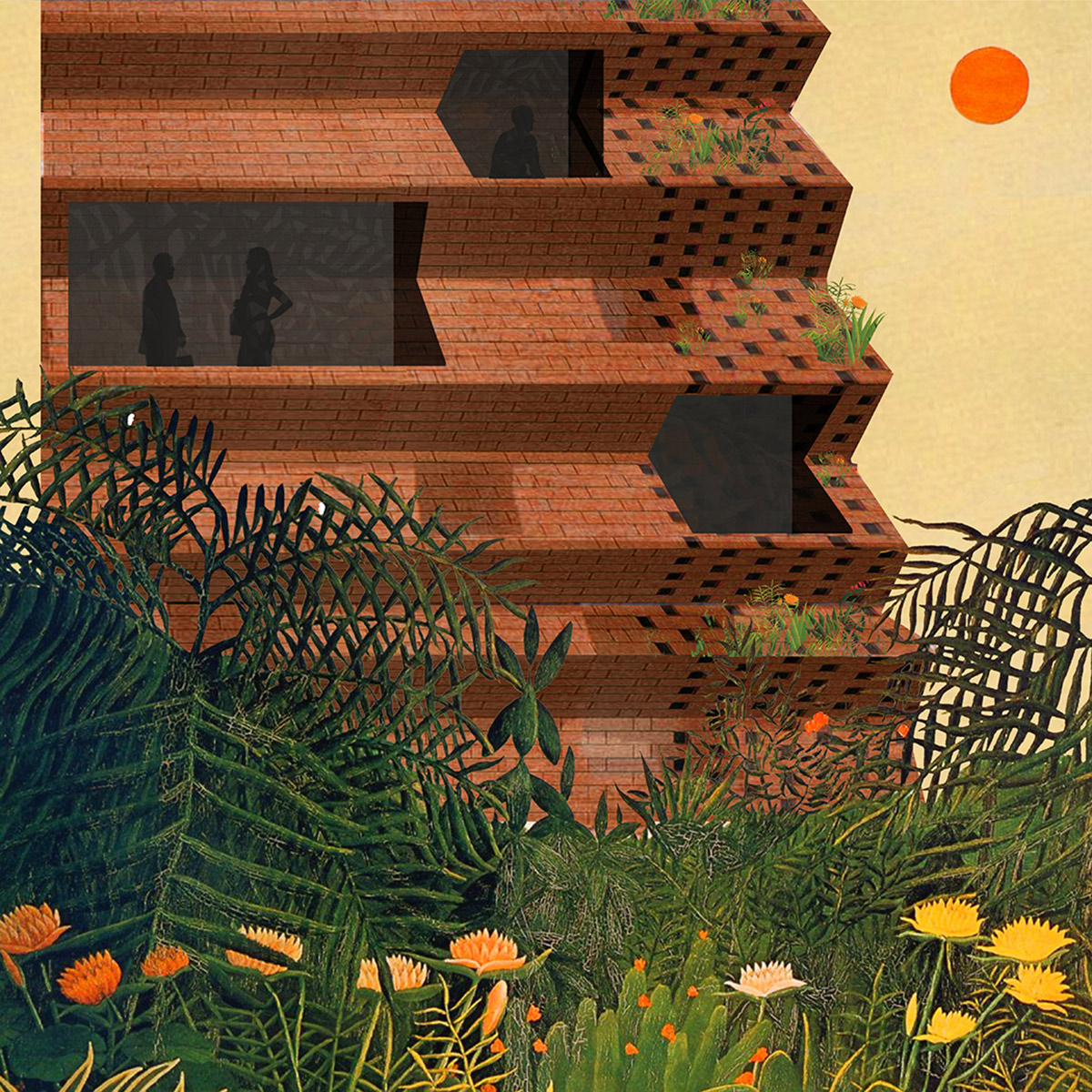 Perspective through the dense vegetation of UI of one of the nine housing and study towers embedded in the landscape